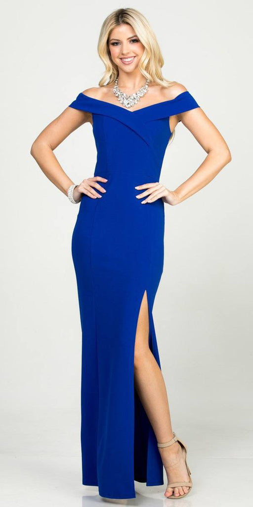 La Scala 25078 Royal Blue Off-the-Shoulder Long Formal Dress with Slit