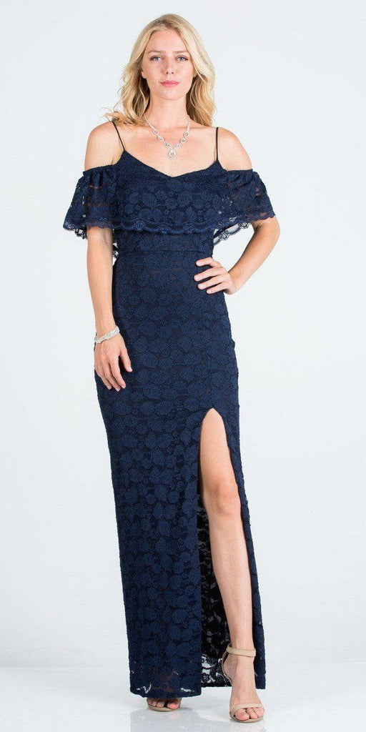 Ruffled Cold-Shoulder Long Formal Dress with Slit Navy Blue