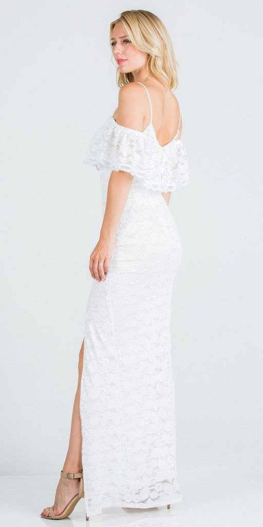 Ruffled Cold-Shoulder Long Formal Dress with Slit Off White