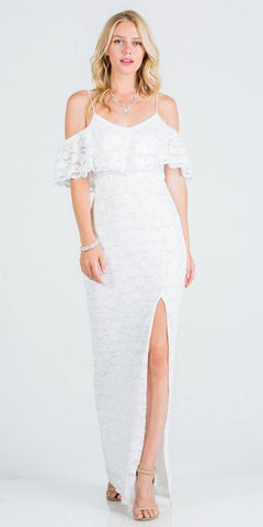 White Long Prom Dress with Mesh Appliqued Train