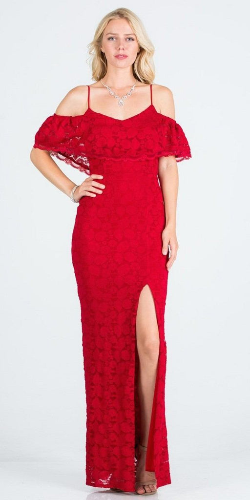 Ruffled Cold-Shoulder Long Formal Dress with Slit Red