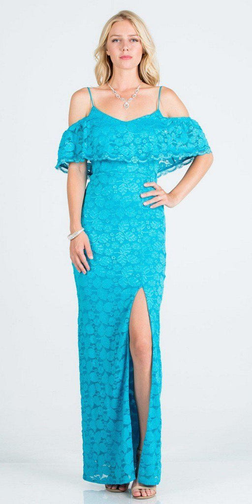 Ruffled Cold-Shoulder Long Formal Dress with Slit Turquoise