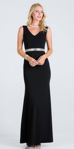 Black Embellished Waist V-Neck Long Formal Dress