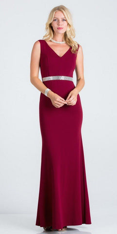 Burgundy Embellished Waist V-Neck Long Formal Dress