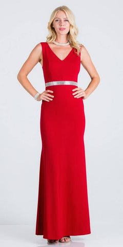 Red Embellished Waist V-Neck Long Formal Dress
