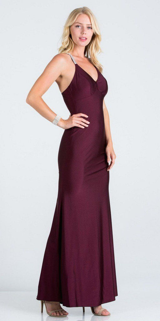 Dark Burgundy Long Formal Dress with Criss-Cross Back