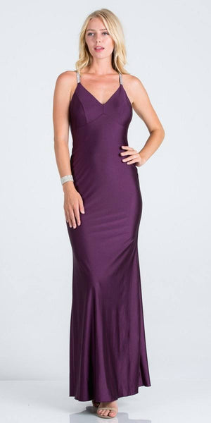 Eggplant Long Formal Dress with Criss-Cross Back