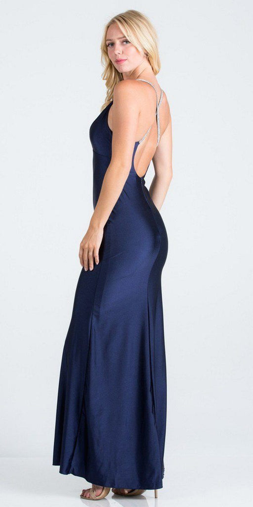 Navy Blue Long Formal Dress with Criss-Cross Back