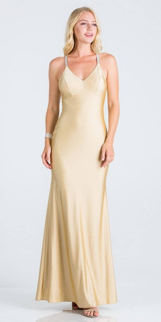Toffee Long Formal Dress with Criss-Cross Back