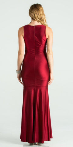 Burgundy Trumpet Style V-Neck Long Formal Dress