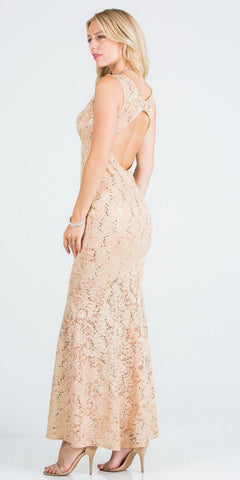 V-Neck Gold Long Formal Dress with Cut-Out Back