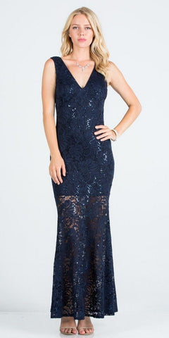 V-Neck Navy Blue Long Formal Dress with Cut-Out Back