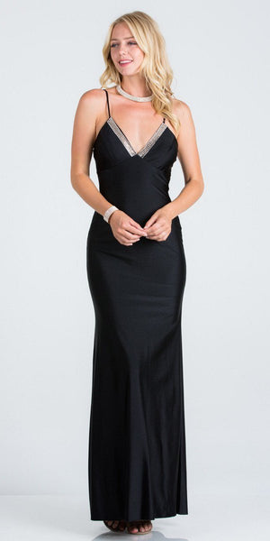 Black Long Formal Dress with Spaghetti Straps