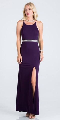 Scoop Neck Eggplant Long Formal Dress with Slit