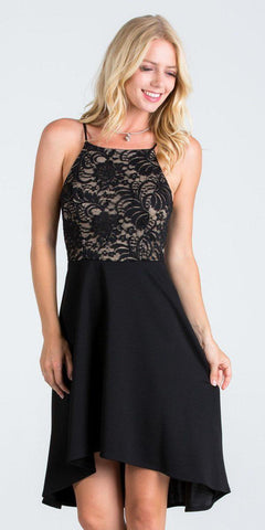 La Scala 25160 Lace and Chiffon Fit and Flare High Low Dress Black/Nude