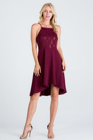 La Scala 25160 Lace and Chiffon Fit and Flare High Low Dress Burgundy
