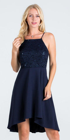 La Scala 25160 Lace and Chiffon Fit and Flare High Low Dress Navy Blue