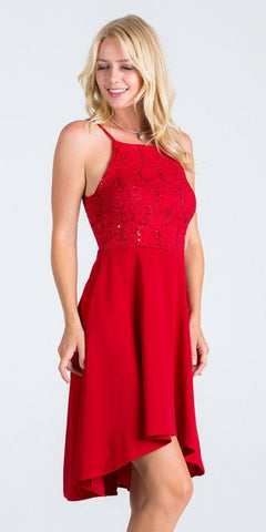 La Scala 25160 Lace and Chiffon Fit and Flare High Low Dress Red