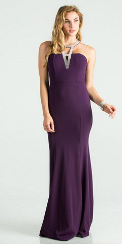 Eggplant Fit and Flare Long Formal Dress Embellished Neckline