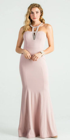 Mauve Fit and Flare Long Formal Dress Embellished Neckline