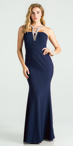 Navy Blue Fit and Flare Long Formal Dress Embellished Neckline