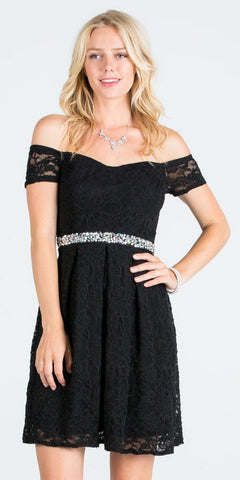 La Scala 25165 Short Lace Cocktail Dress Black A Line Strapless