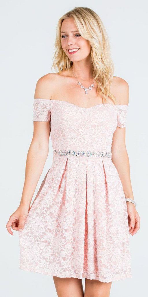 La Scala 25165 Short Lace Cocktail Dress Blush A Line Strapless