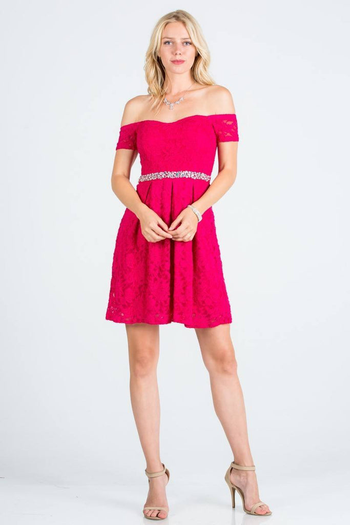La Scala 25165 Short Lace Cocktail Dress Fuchsia A Line Strapless