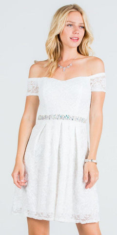 La Scala 25165 Short Lace Cocktail Dress Off White A Line Strapless