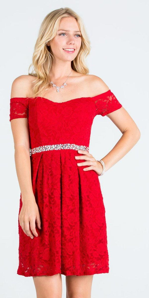 La Scala 25165 Short Lace Cocktail Dress Red A Line Strapless