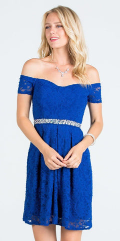La Scala 25165 Short Lace Cocktail Dress Royal Blue A Line Strapless