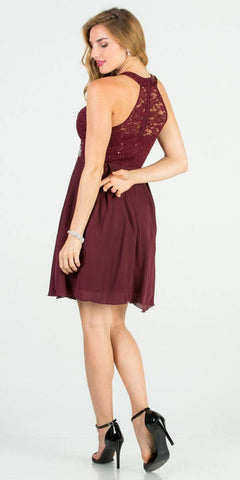 La Scala 25169 Sleeveless Halter Fit and Flare Dress Short Burgundy Back View