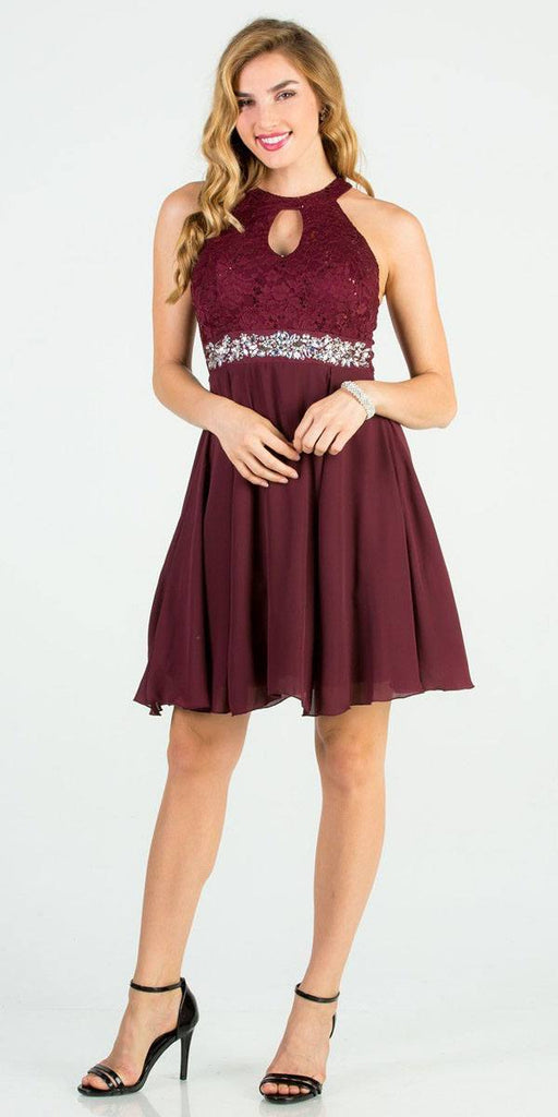 La Scala 25169 Sleeveless Halter Fit and Flare Dress Short Burgundy