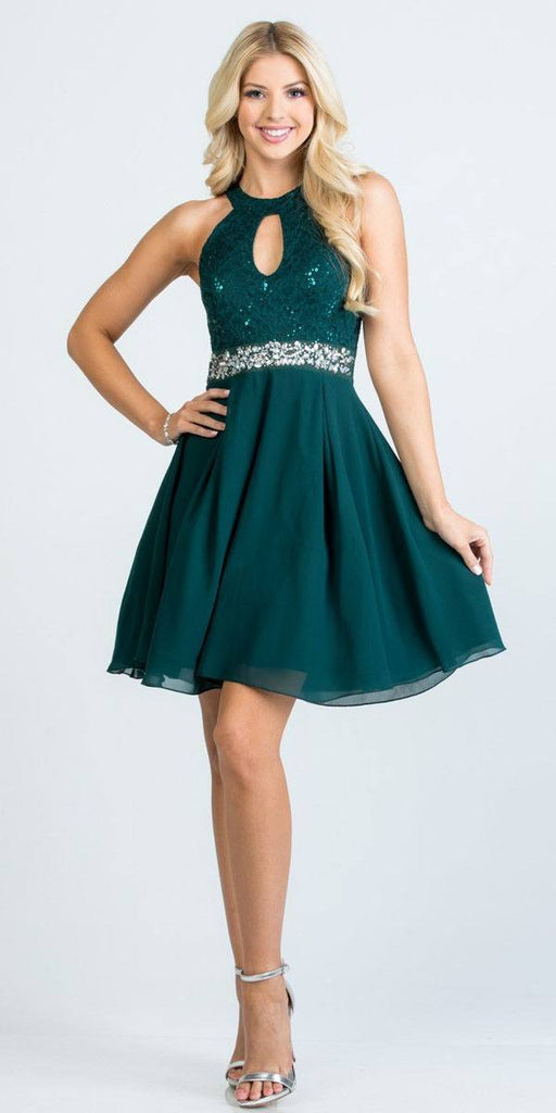 La Scala 25169 Sleeveless Halter Fit and Flare Dress Short Hunter Green