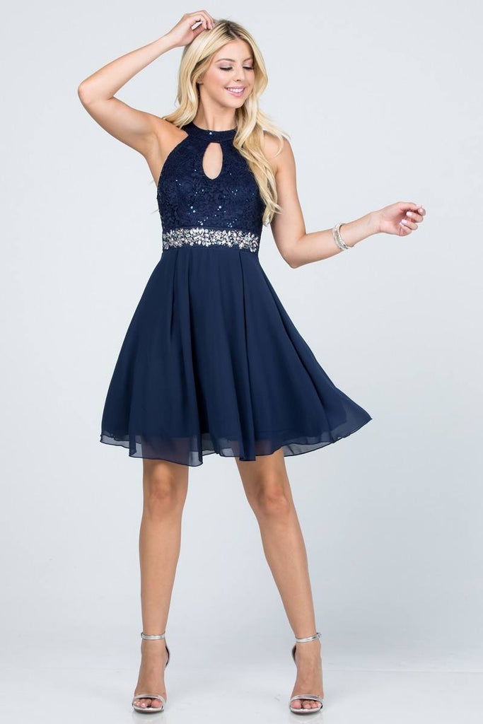La Scala 25169 Sleeveless Halter Fit and Flare Dress Short Navy Blue