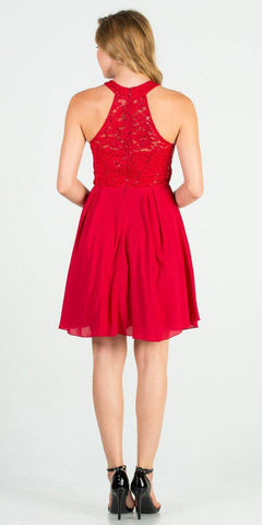 La Scala 25169 Sleeveless Halter Fit and Flare Dress Short Red Back View