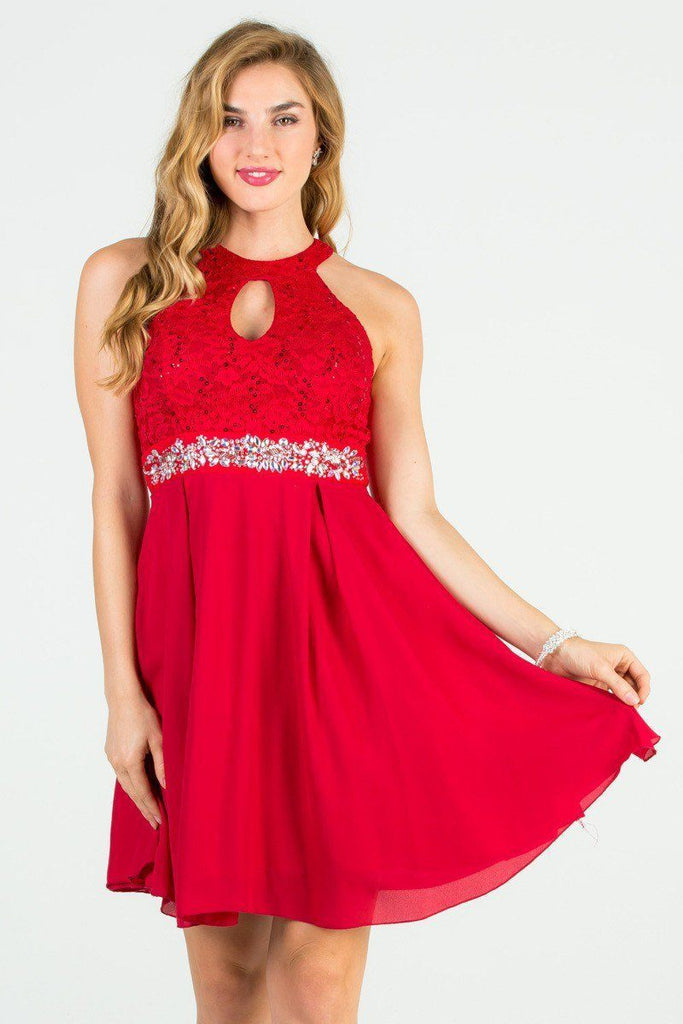 La Scala 25169 Sleeveless Halter Fit and Flare Dress Short Red