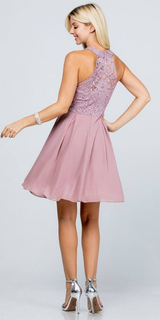 La Scala 25169 Sleeveless Halter Fit and Flare Dress Short Rose