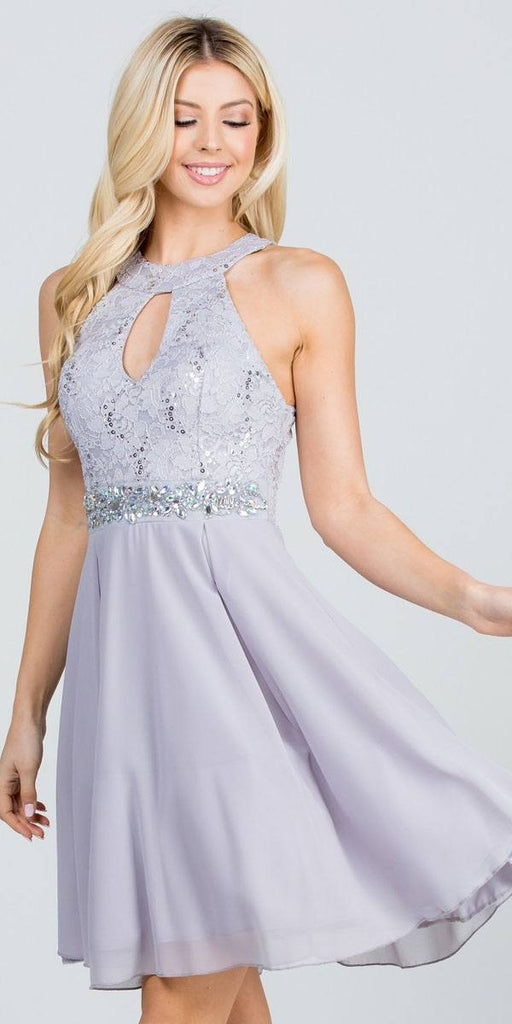 La Scala 25169 Sleeveless Halter Fit and Flare Dress Short Silver