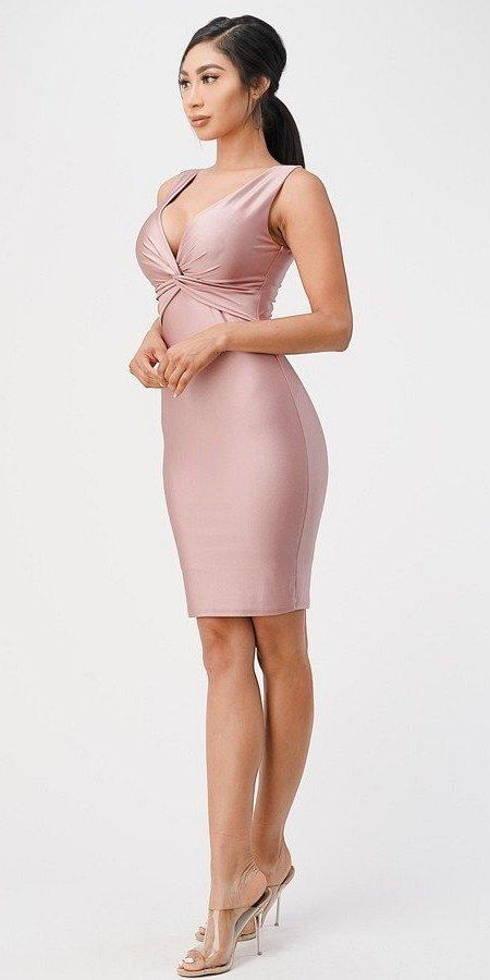 Ash Rose V-Neck Short Cocktail Dress Sleeveless