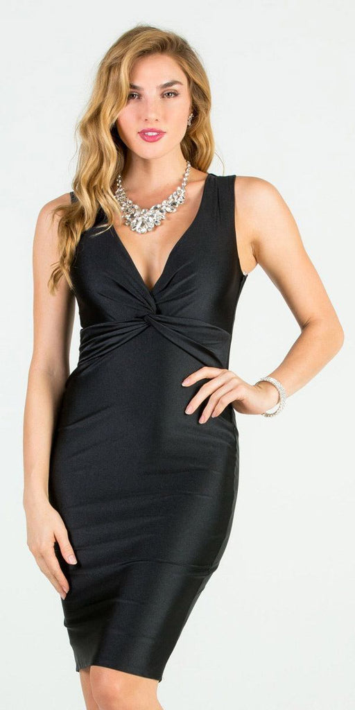 Black V-Neck Short Cocktail Dress Sleeveless