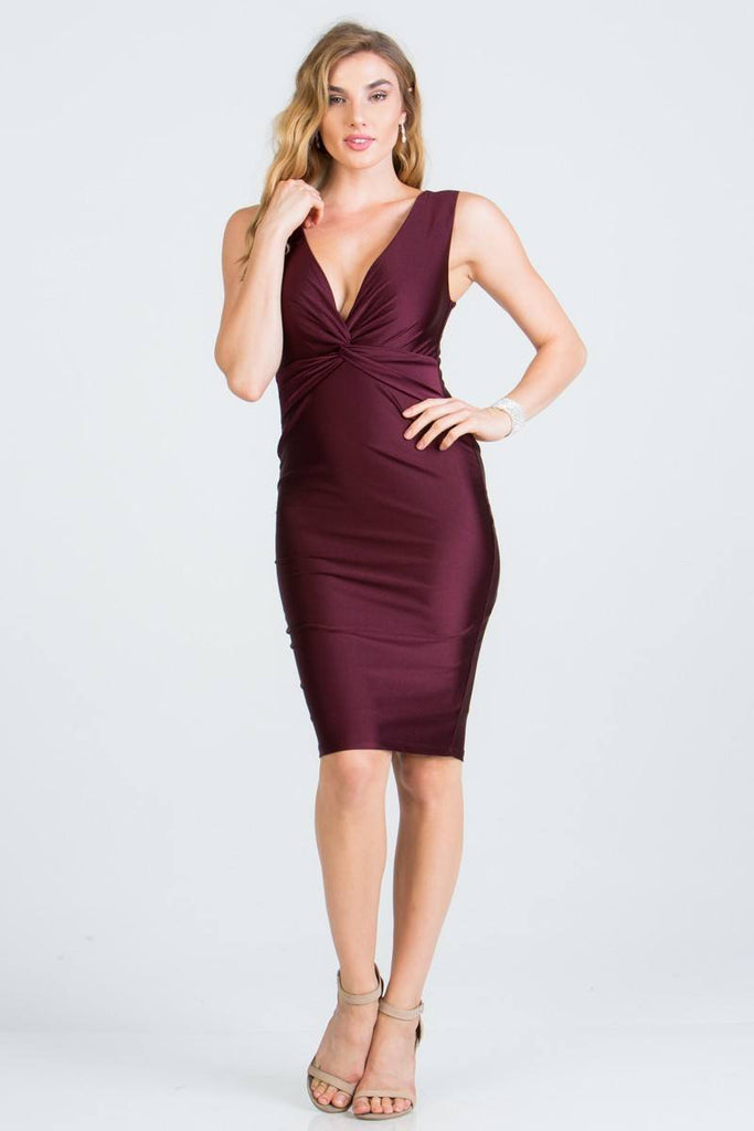 Dark-Burgundy V-Neck Short Cocktail Dress Sleeveless