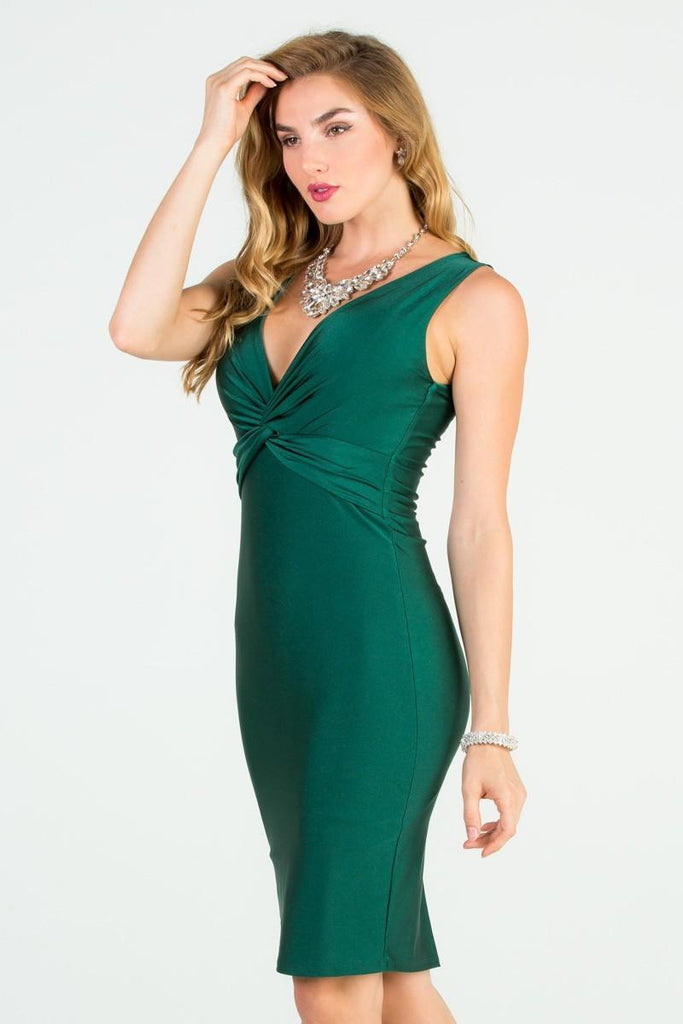 Hunter Green V-Neck Short Cocktail Dress Sleeveless