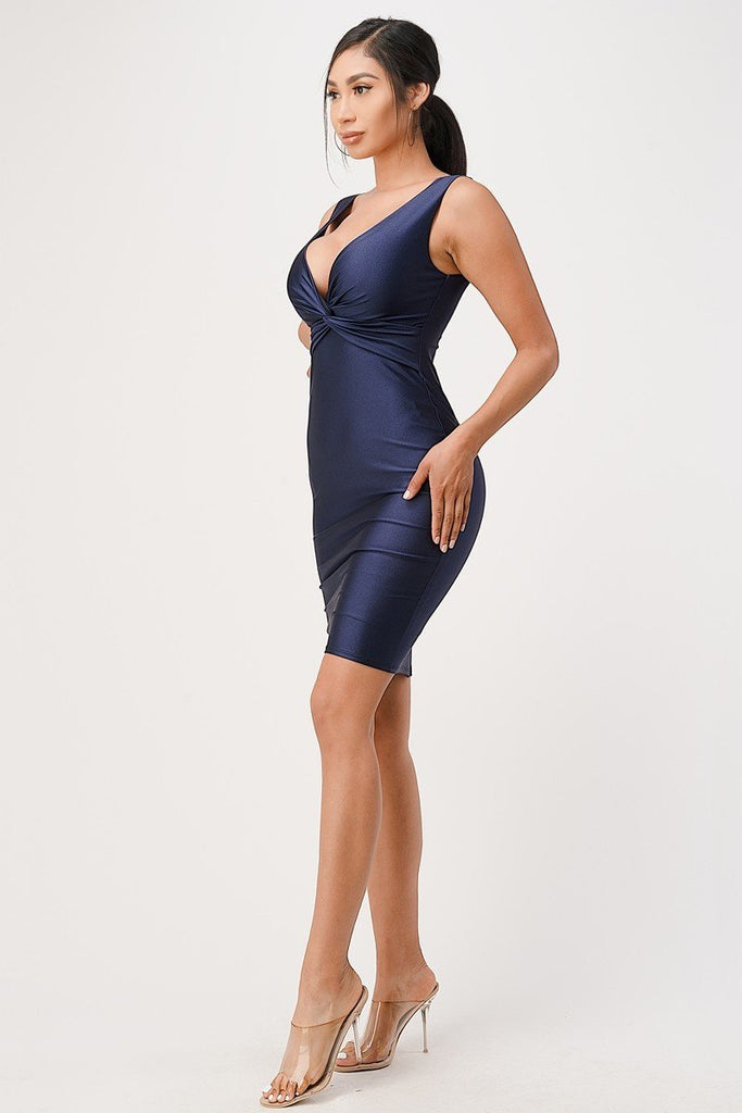Navy Blue V-Neck Short Cocktail Dress Sleeveless