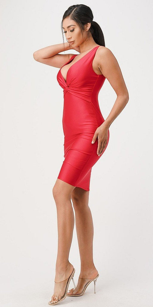 Red V-Neck Short Cocktail Dress Sleeveless