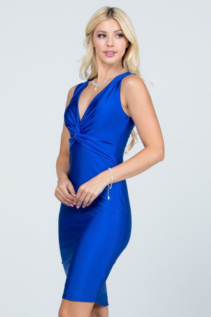 Royal Blue V-Neck Short Cocktail Dress Sleeveless