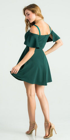 Hunter Green A-Line Short Party Dress Cold-Shoulder