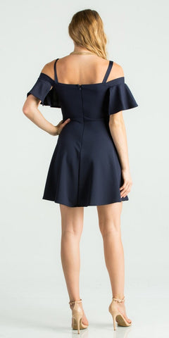 Navy Blue A-Line Short Party Dress Cold-Shoulder