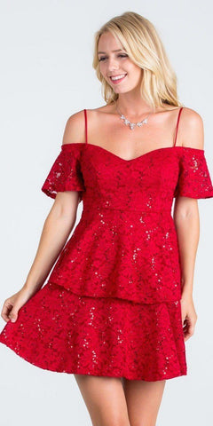 La Scala 25201 Layered Cold Shoulder Lace Dress Red