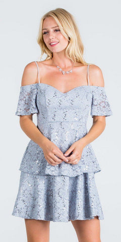 La Scala 25201 Layered Cold Shoulder Lace Dress Silver